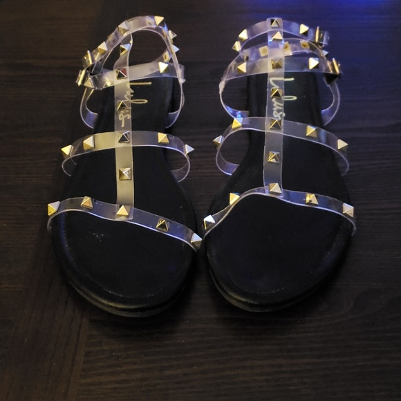 e67dff0c5bf2 Lulu s Shoes - Lulu s Josie Clear Studded Gladiator Sandals